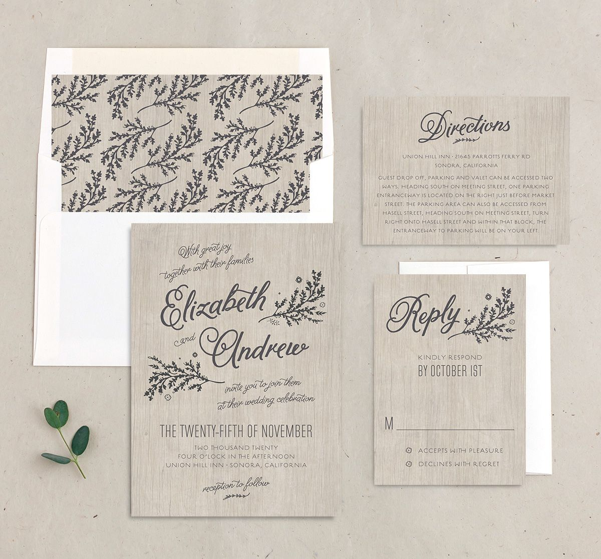 rustic chic wedding invitation stationery suite in grey