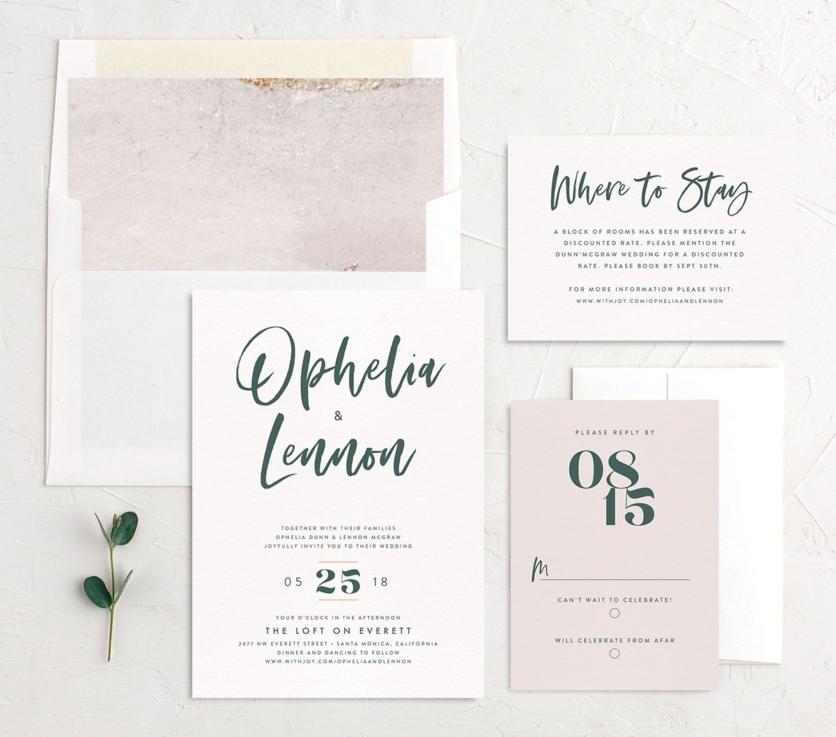 modern luxe wedding invitation stationery suite in teal green