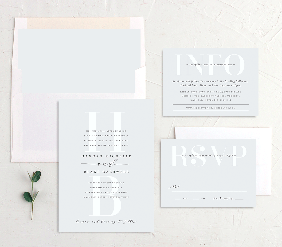 Monogram Wedding Invitation Stationery Suite