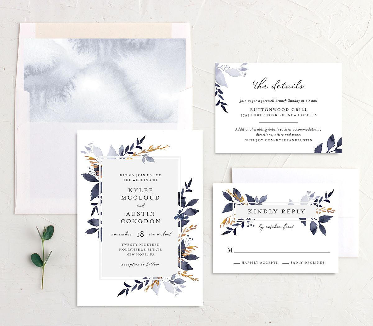 leafy frame wedding invitation stationery suite