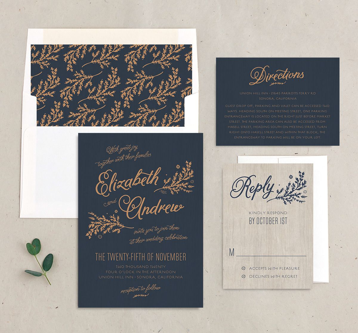 rustic chic wedding invitation stationery suite in navy