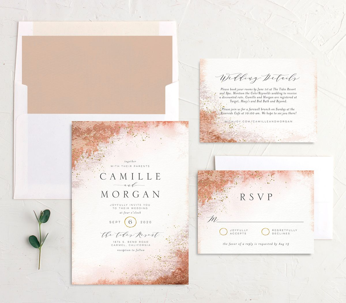 organic luxe wedding invitation stationery suite in peach