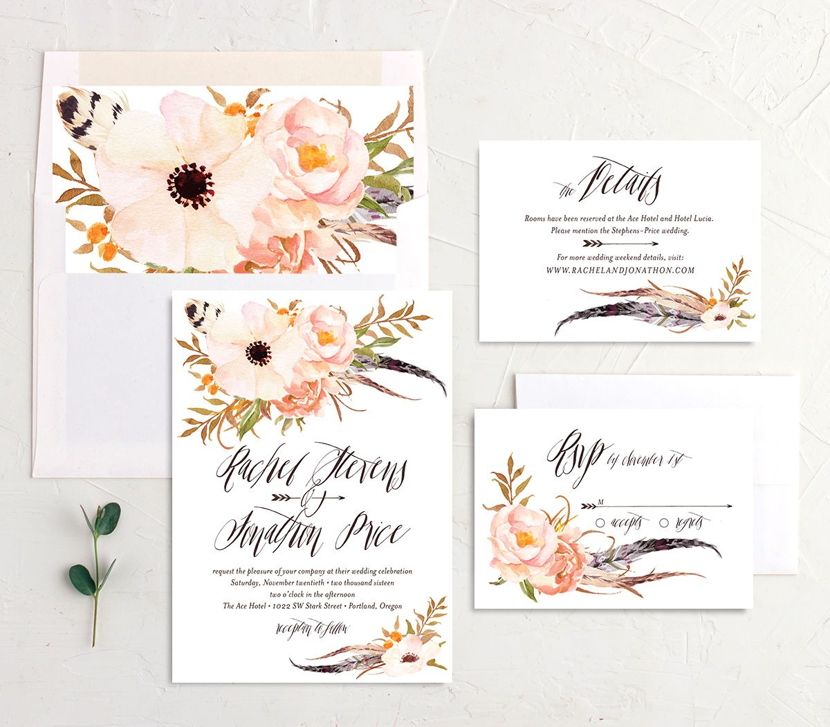 bohemian floral wedding invite stationery suite in peach