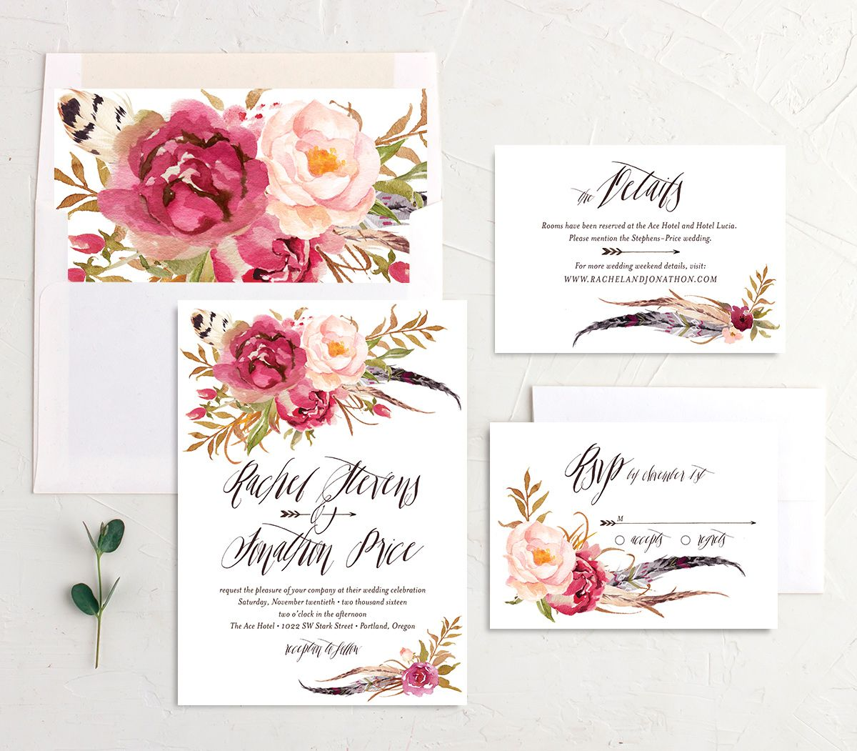 bohemian floral wedding invitation stationery suite in pink