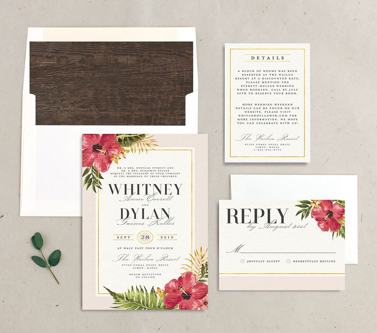 elegant paradise beach wedding invitation stationery suite in pink