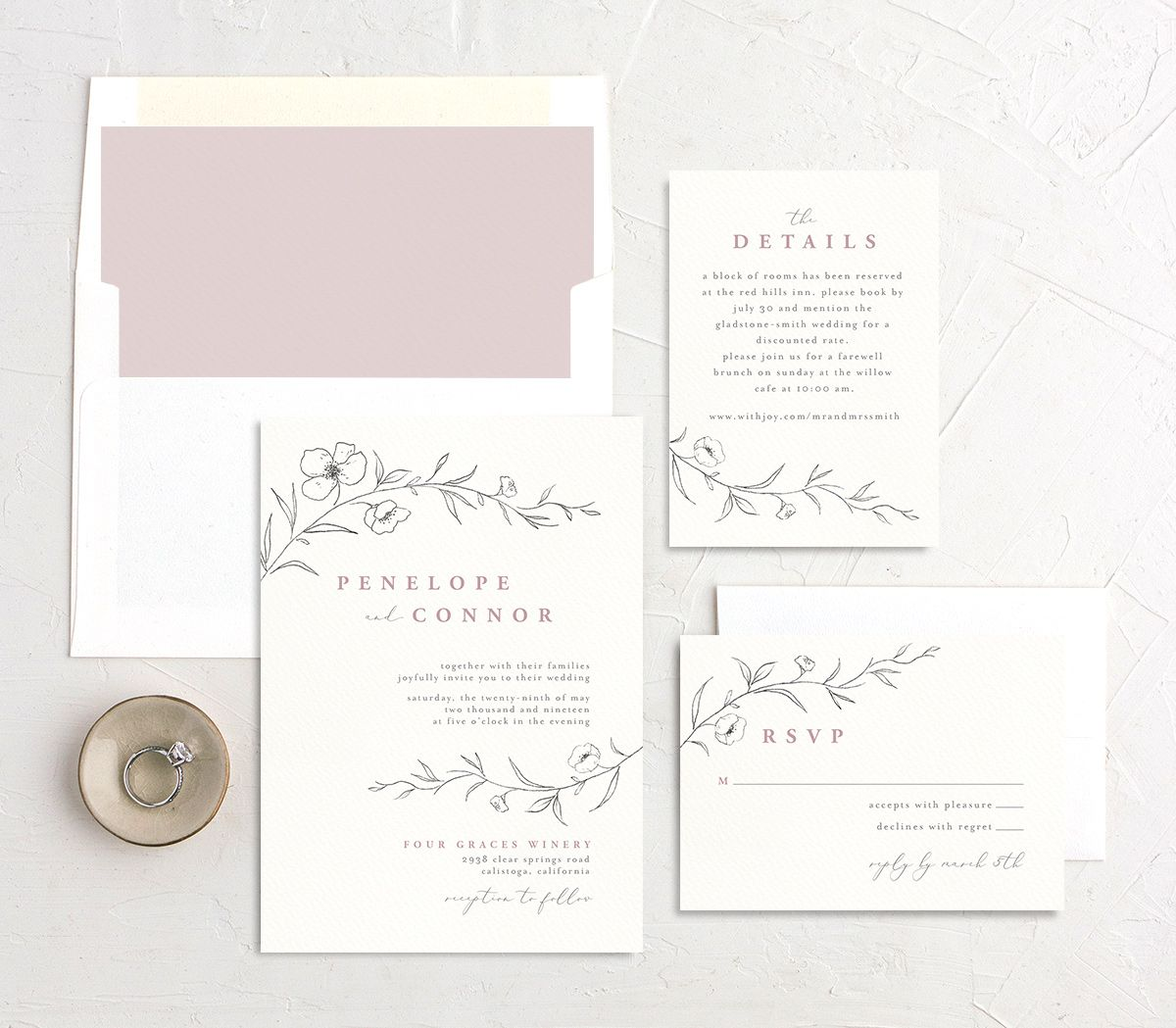 graceful botanical wedding invitation stationery suite in pink