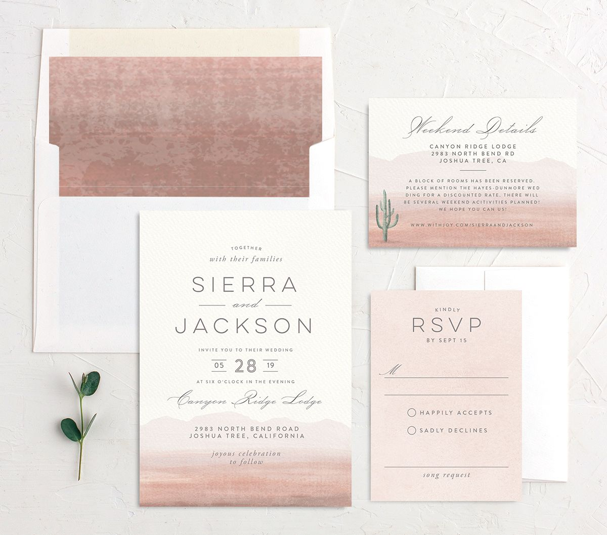 painted desert wedding invitation stationery suite in pink