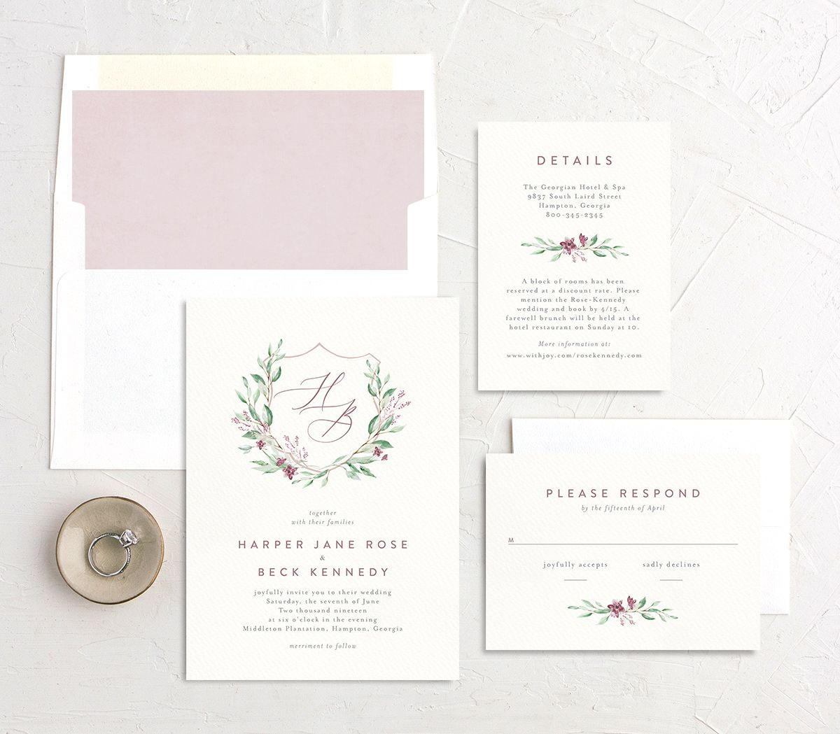 watercolor crest wedding invitation stationery suite in pink