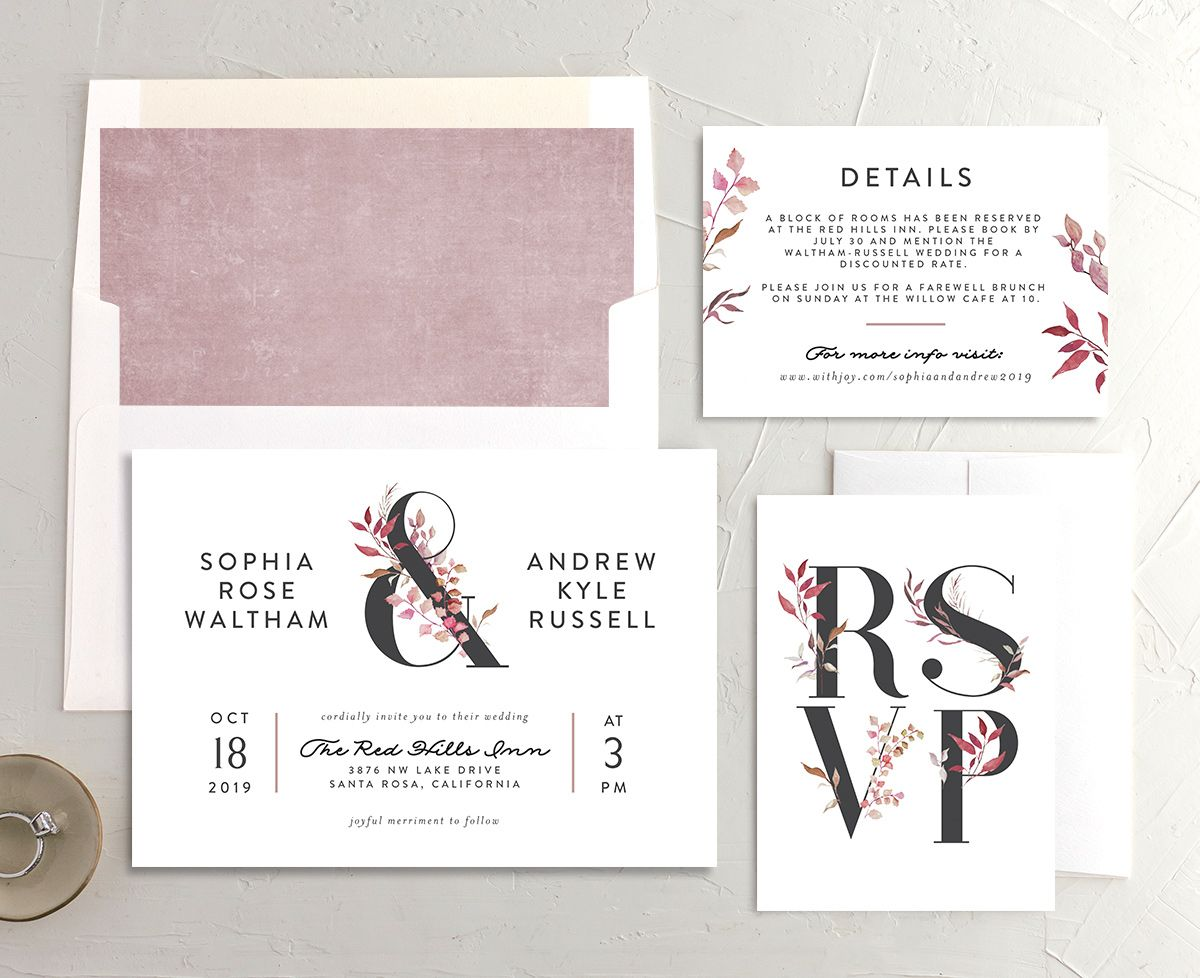 leafy ampersand wedding invitation stationery suite in purple