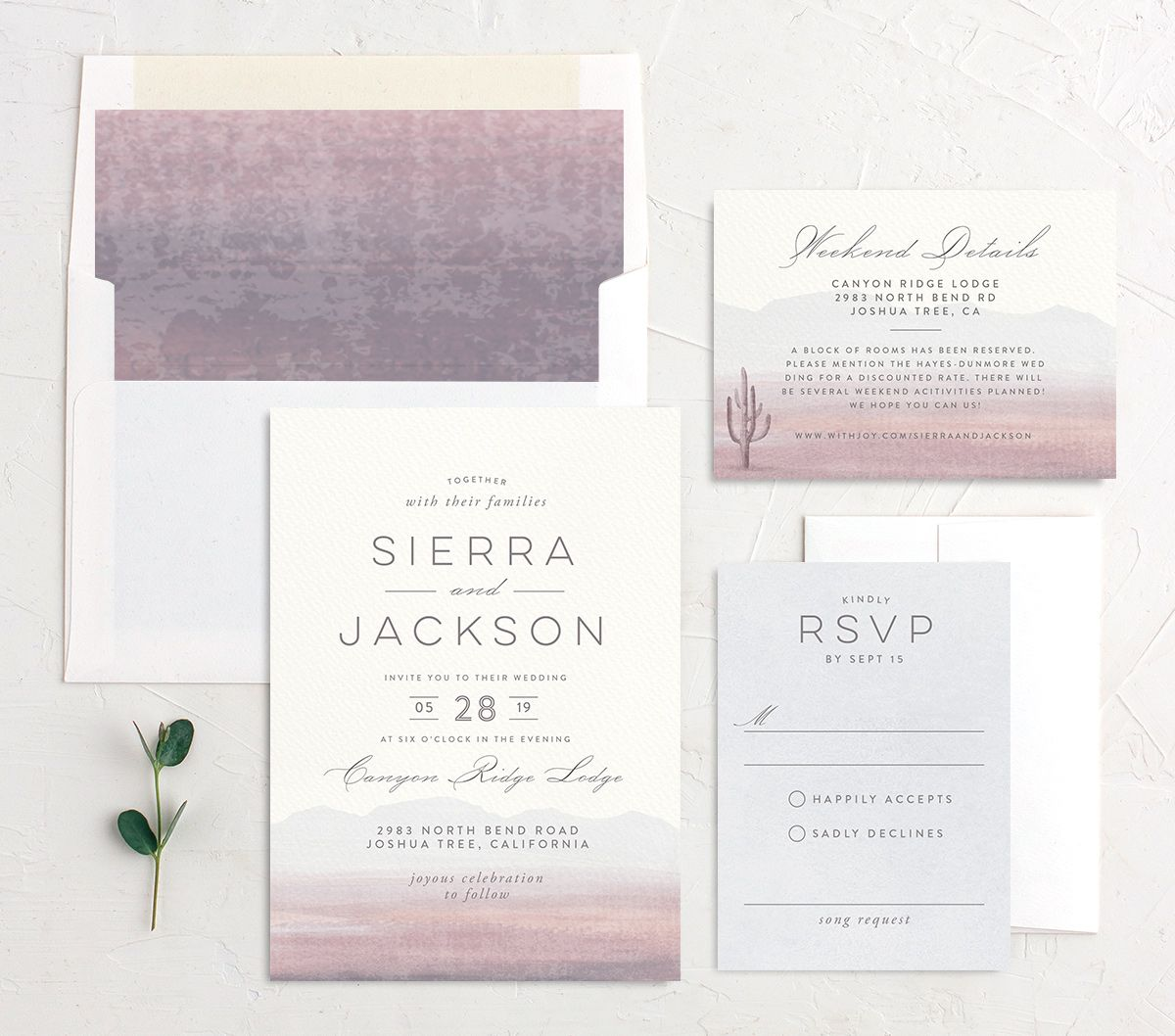 painted desert wedding invitation stationery suite in purple