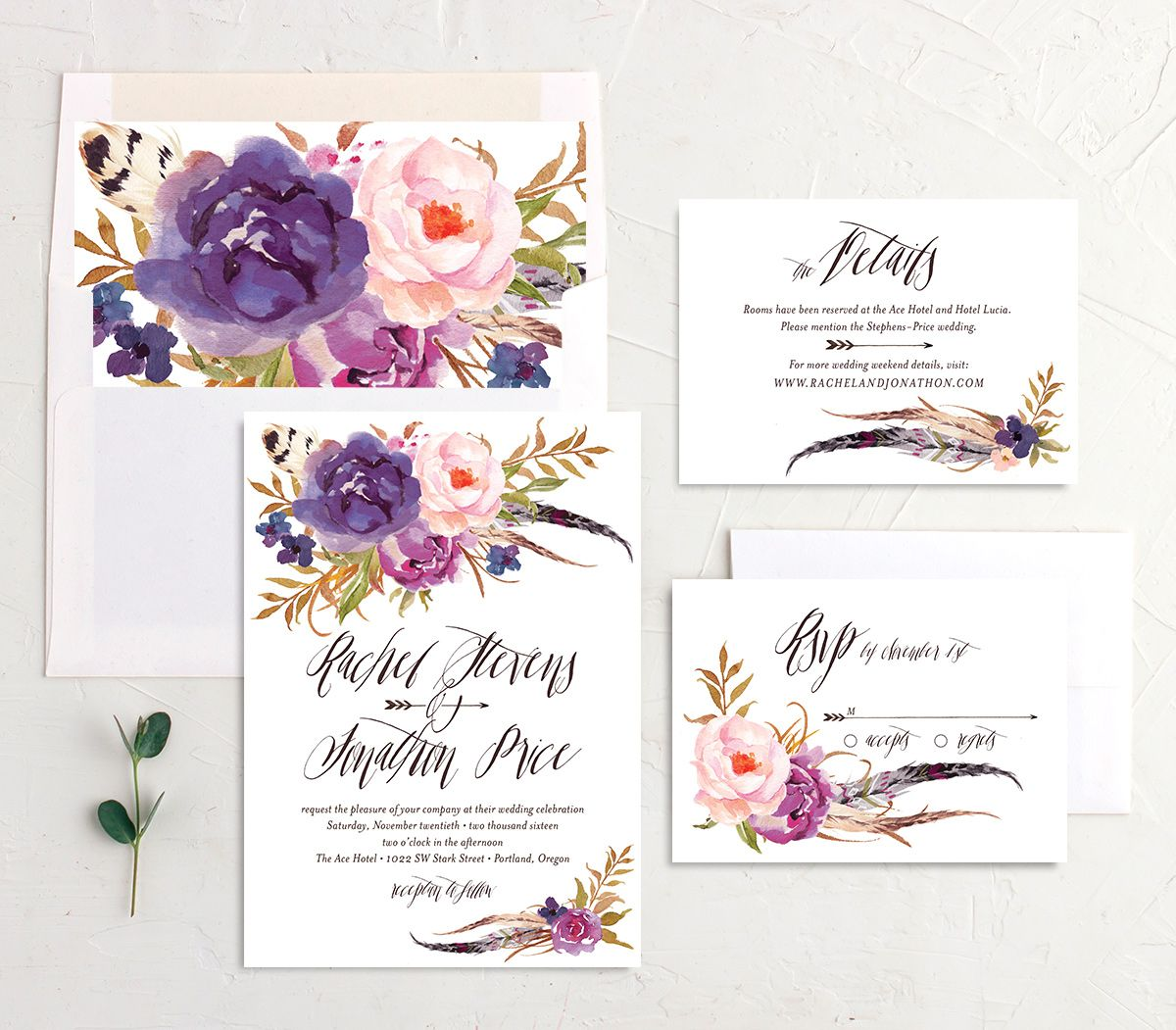 bohemian floral wedding invitation stationery suite in purple