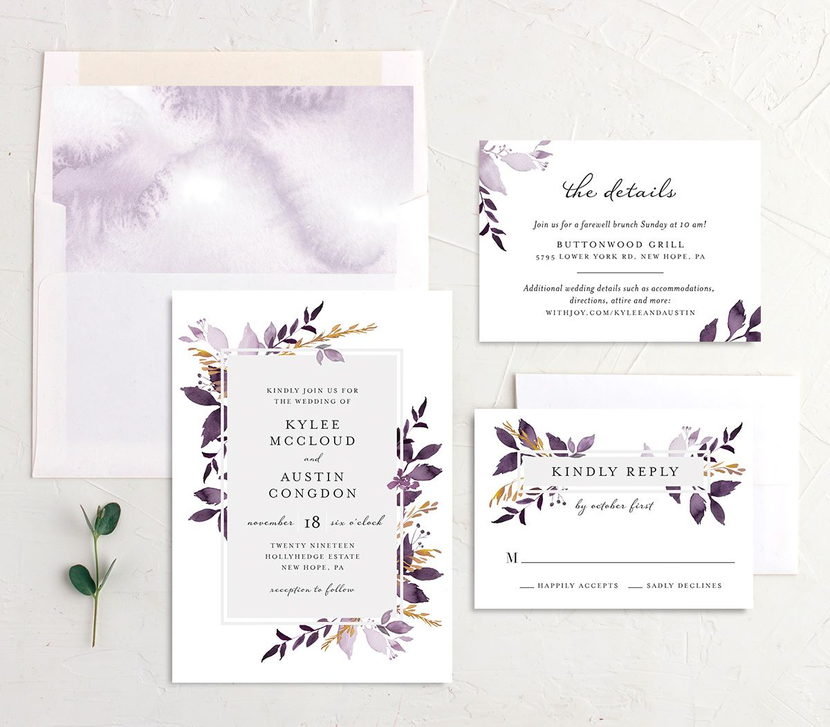 leafy frame wedding invitation stationery suite in purple