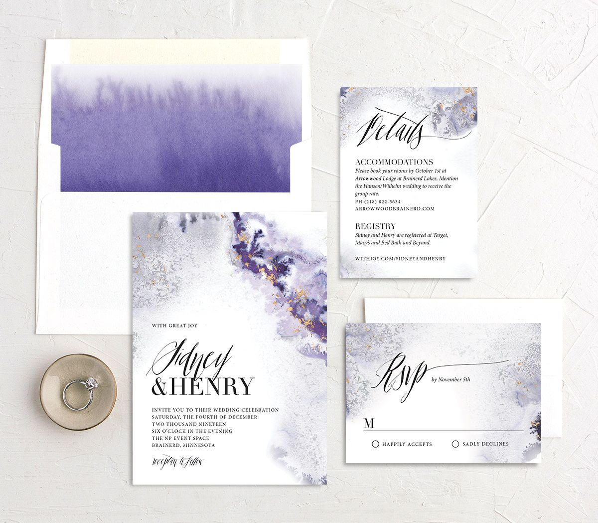 painted ethereal wedding invitation stationery suite in purple
