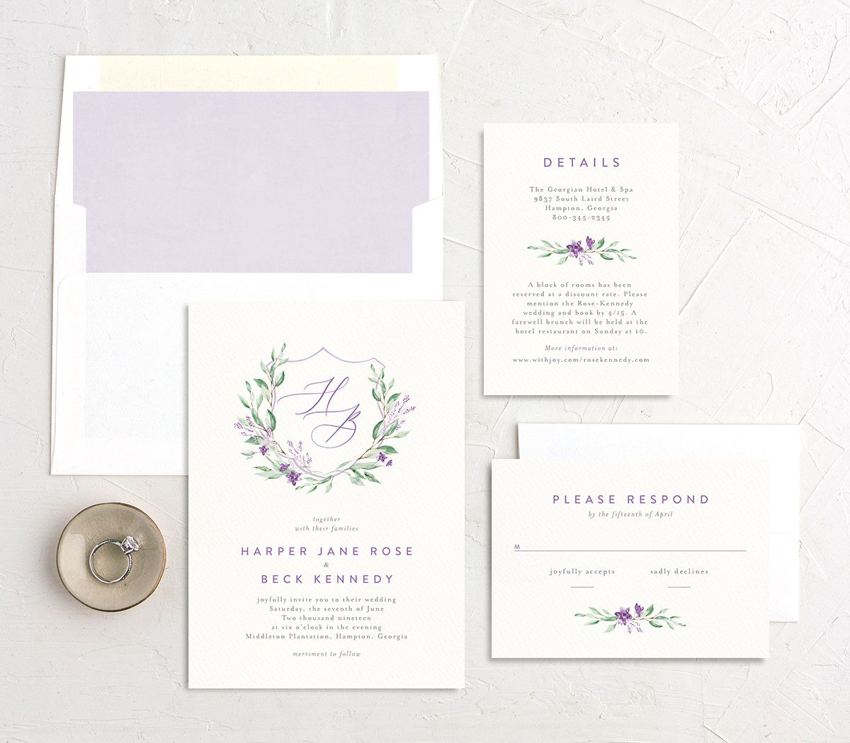 watercolor crest wedding invitation stationery suite in purple