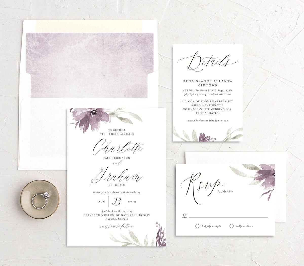 muted floral wedding invitation stationery suite in purple