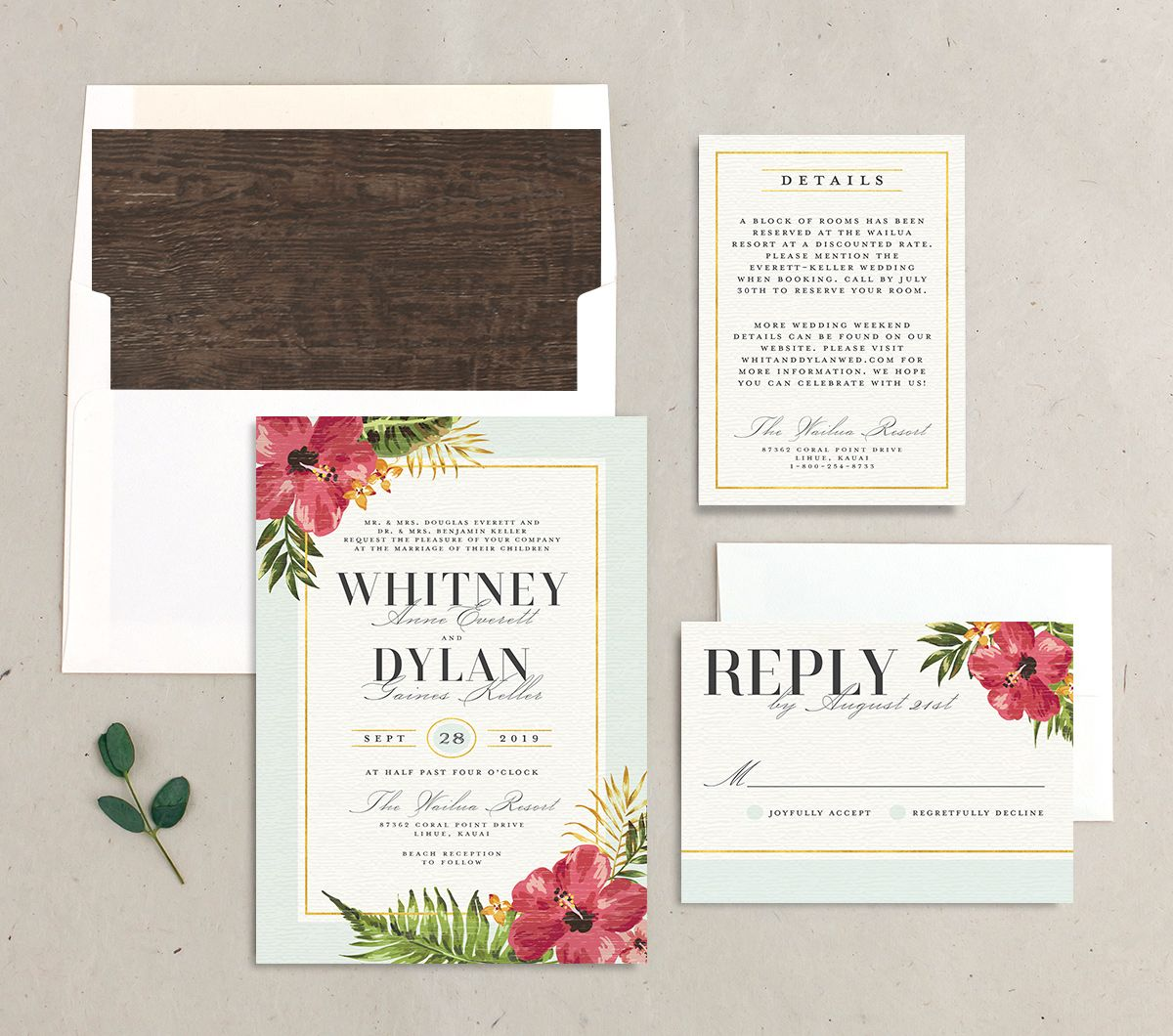 elegant paradise wedding invitation stationery suite in teal