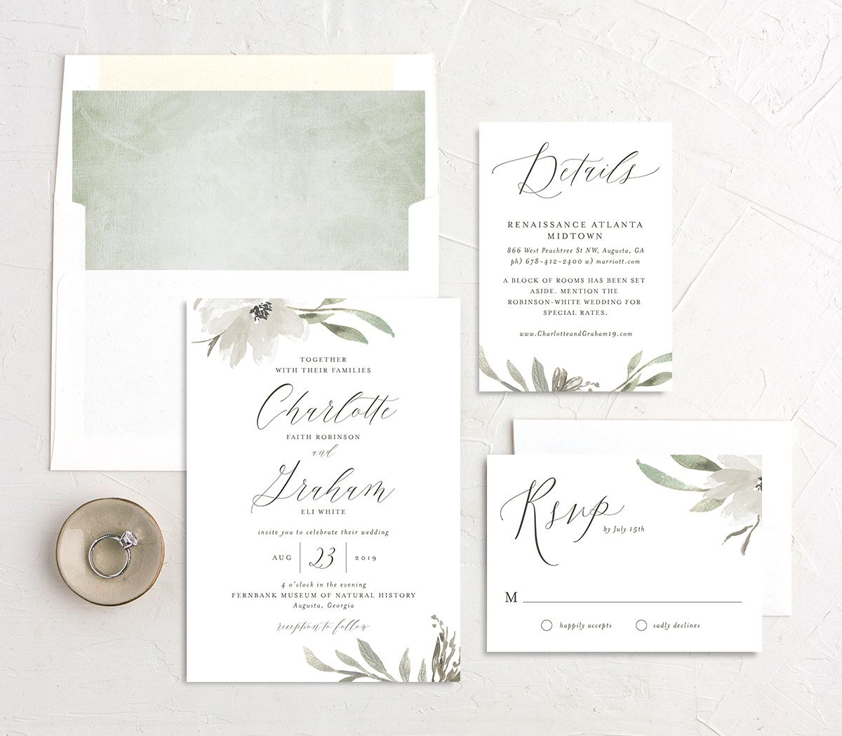 muted floral wedding invitation stationery suite in white