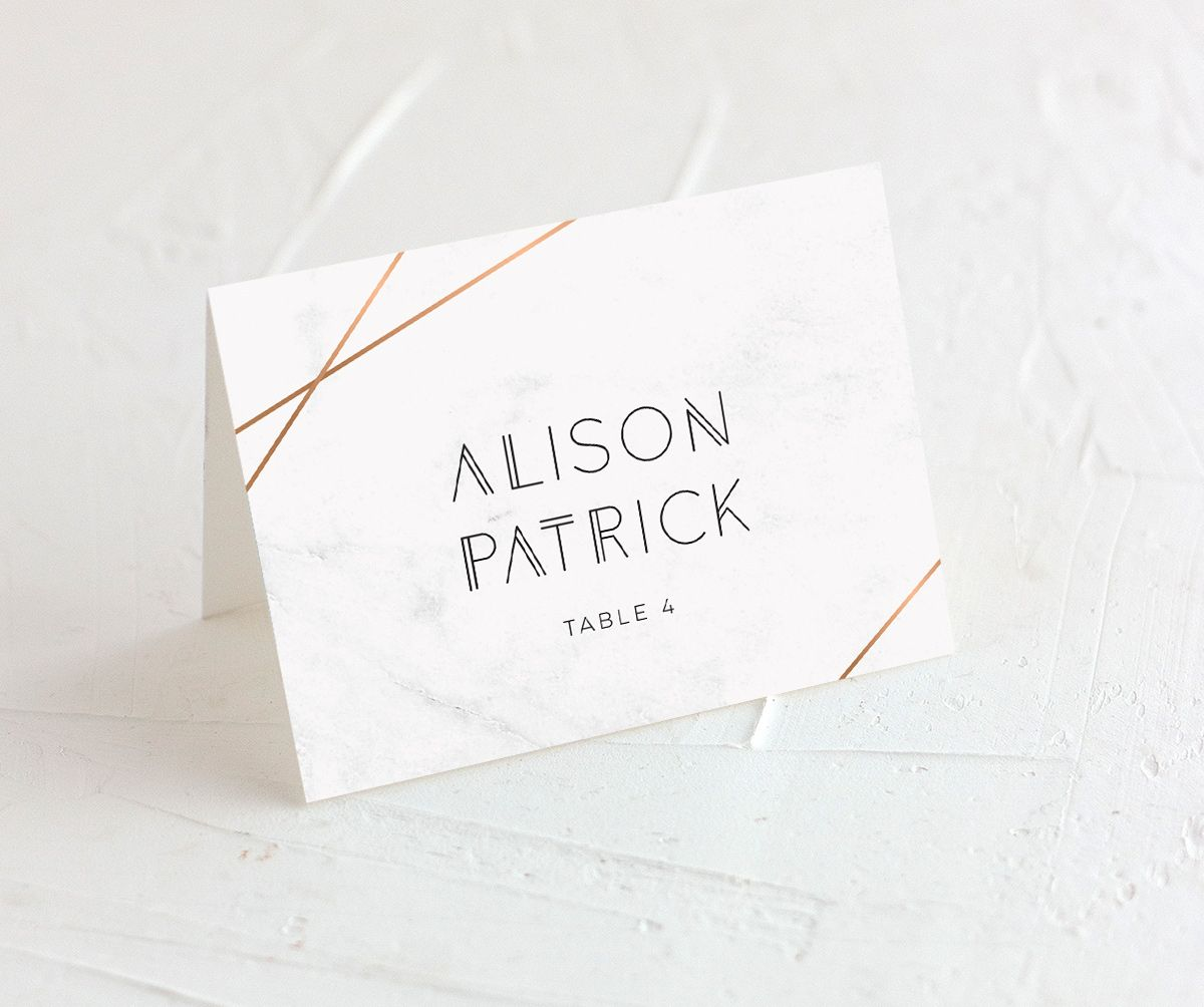 geometric marble place cards