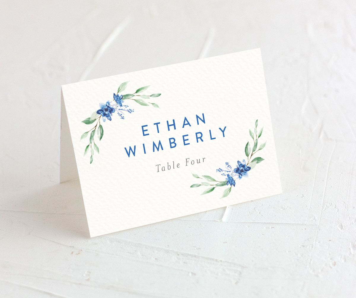 watercolor crest place cards in blue