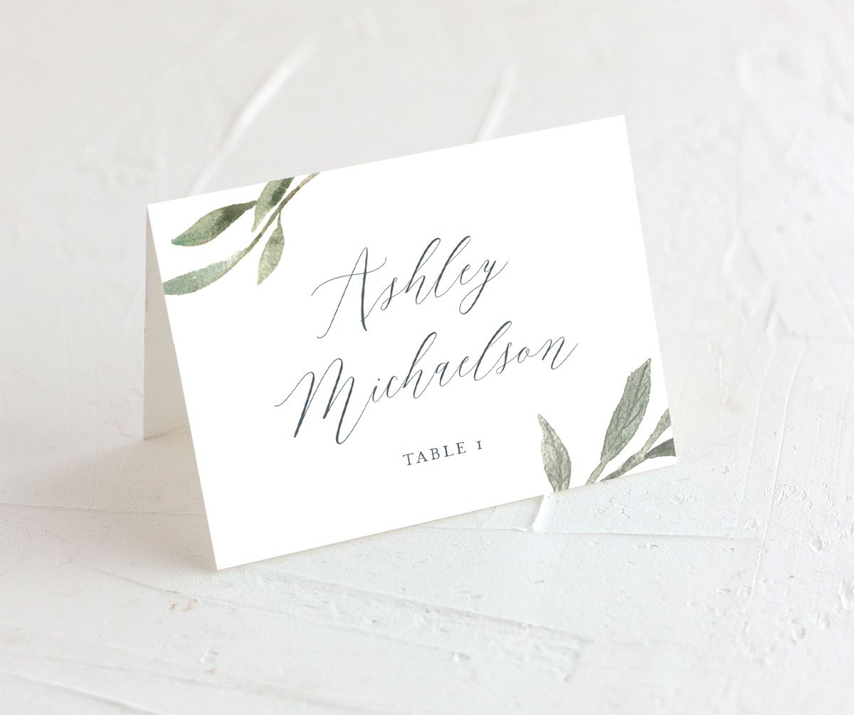 muted floral place cards in blue