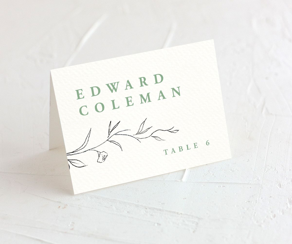 graceful botanical wedding place cards in green