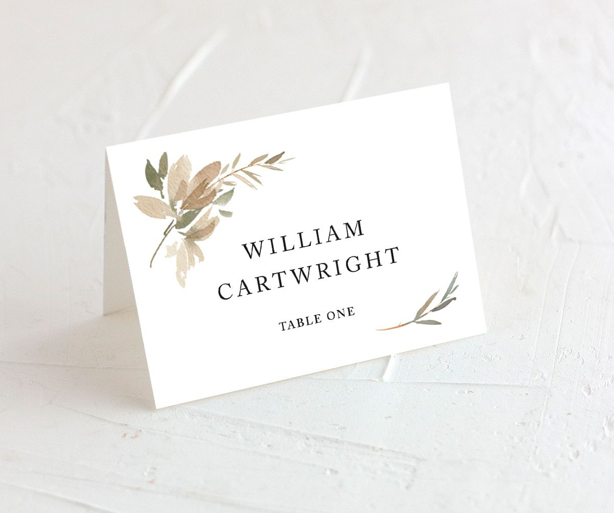 neutral greenery place cards in green