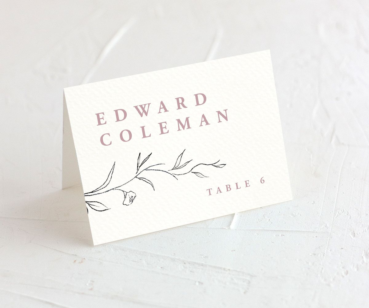 graceful botanical wedding place cards in pink
