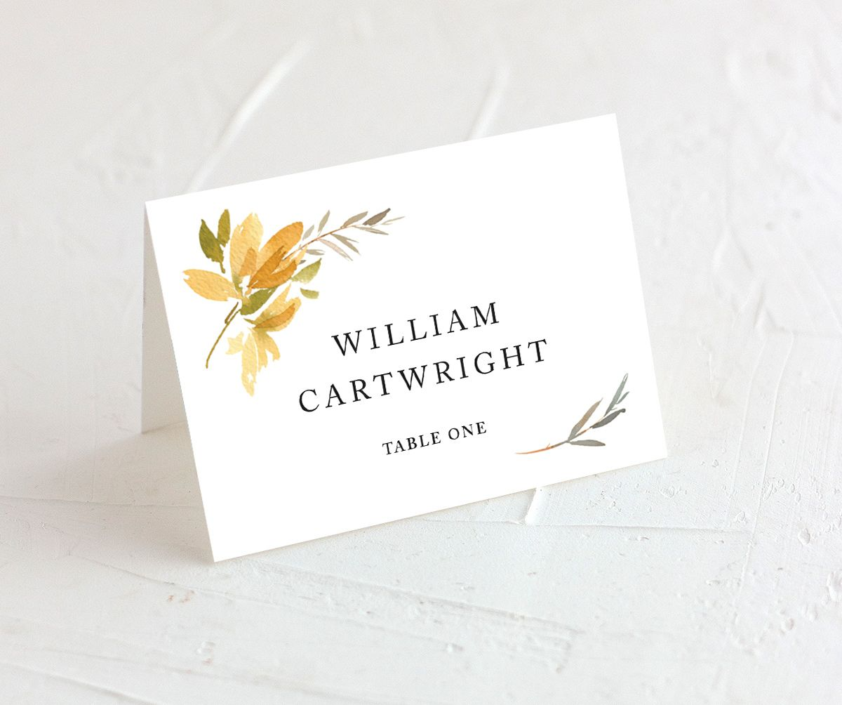 neutral greenery place cards in yellow