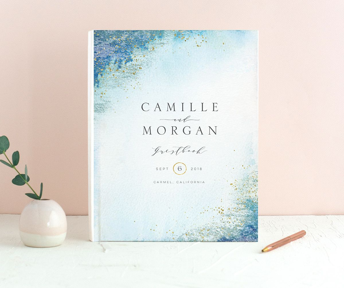 organic luxe wedding guest book in blue back