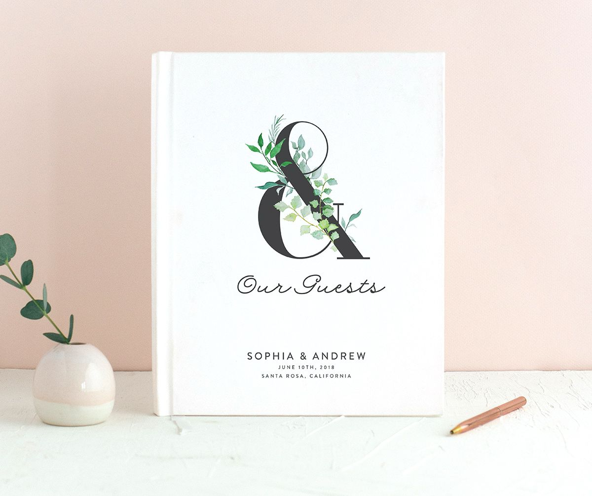 leafy ampersand wedding guest book in green