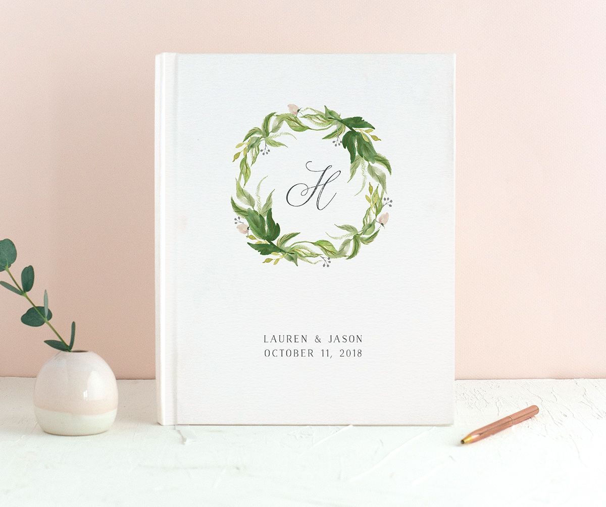 leafy wreath guest book in green
