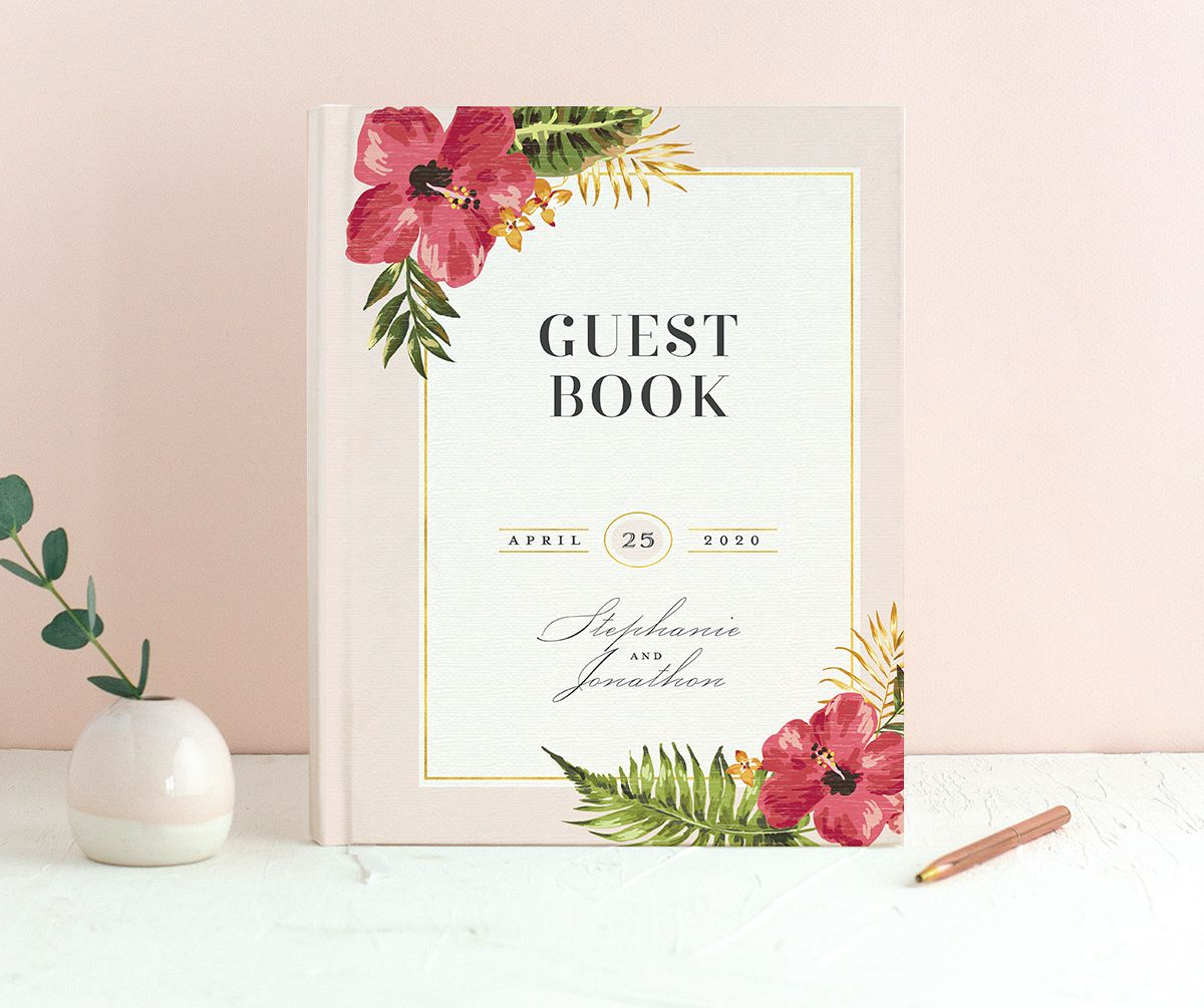 elegant paradise wedding guest books in pink