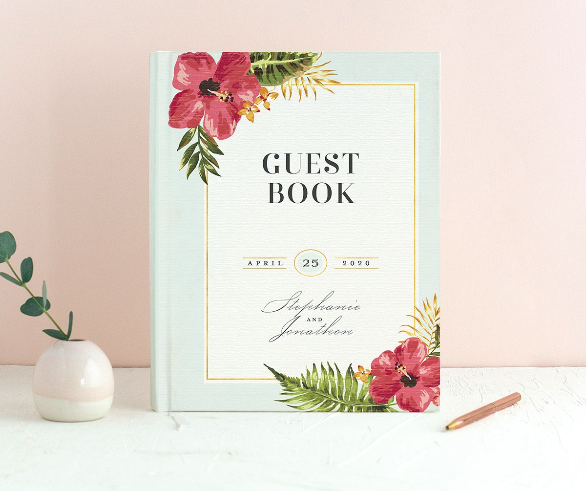 elegant paradise wedding guest book in teal