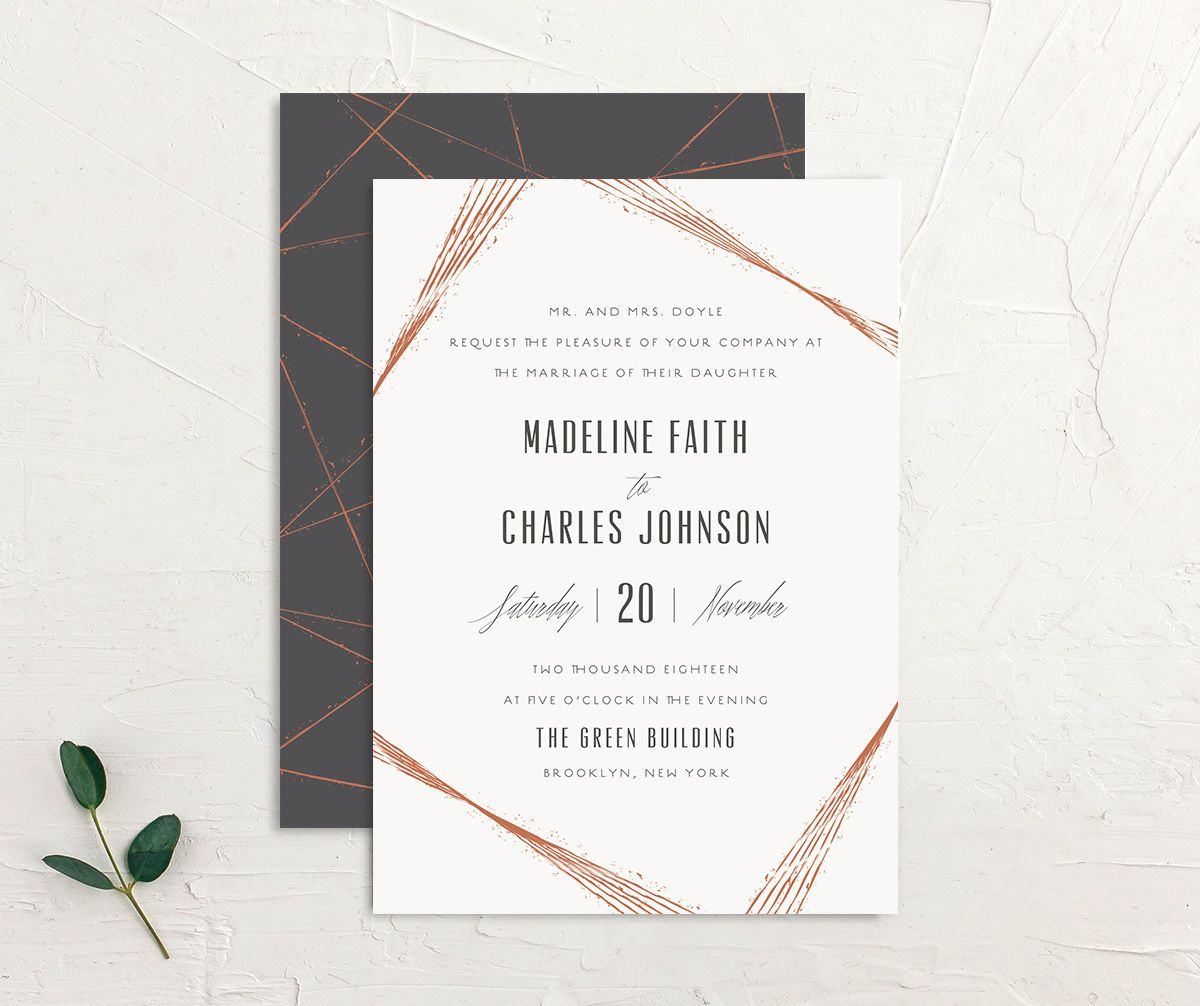 elegant industrial wedding invites