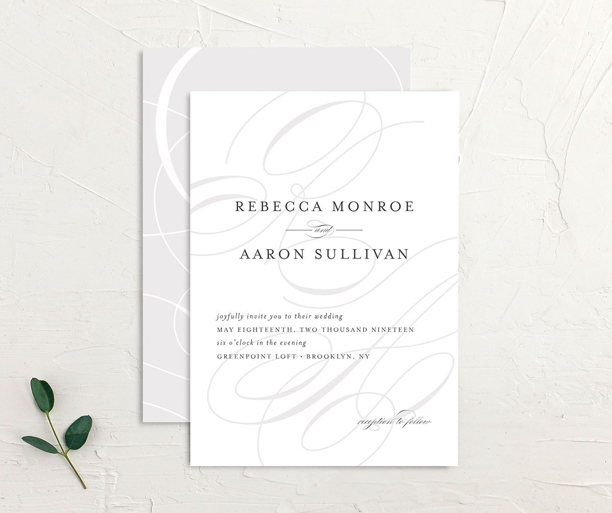elegantly initialed wedding invite