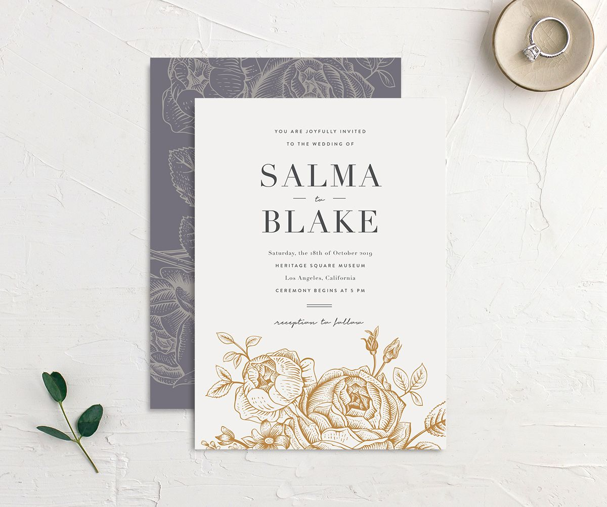 Etched botanical wedding invites