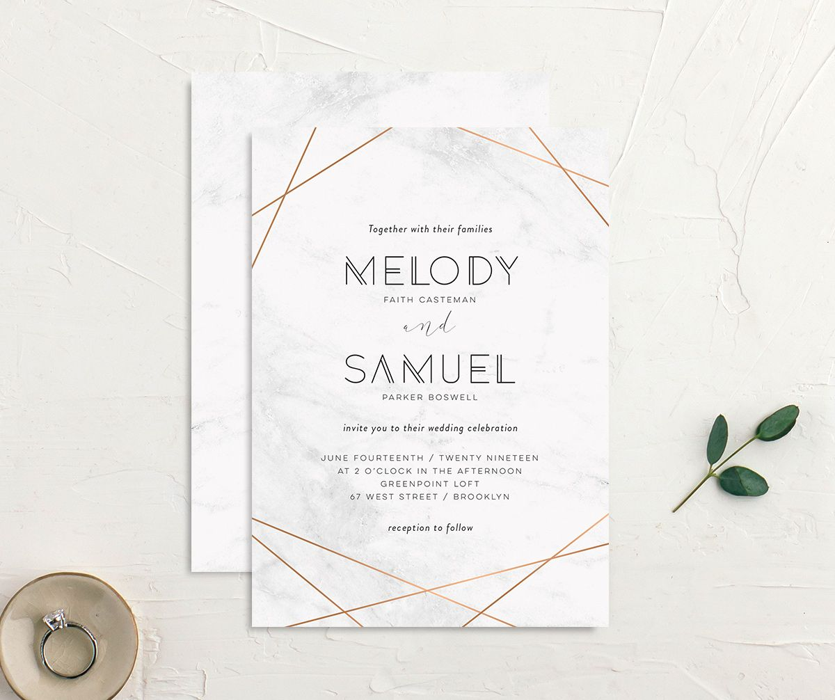 Geometric marble modern wedding invites