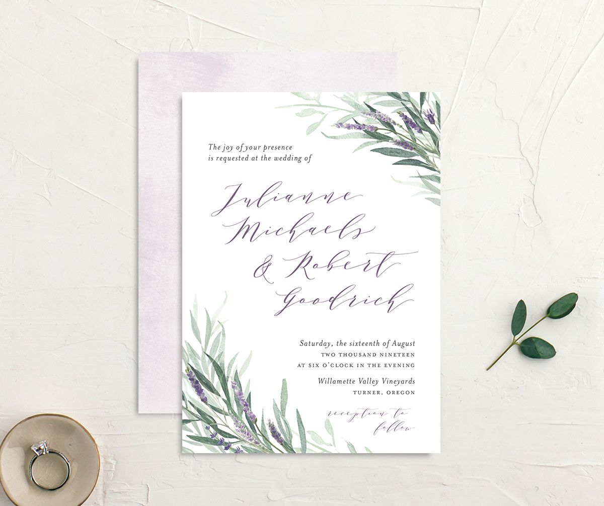 lavender sage wedding invites