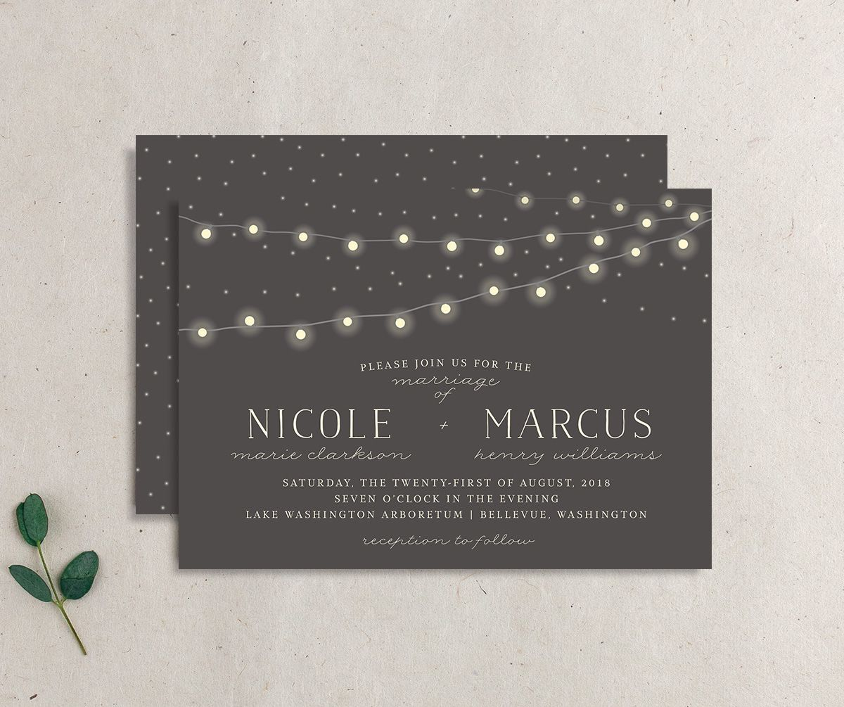 strung lights wedding invites