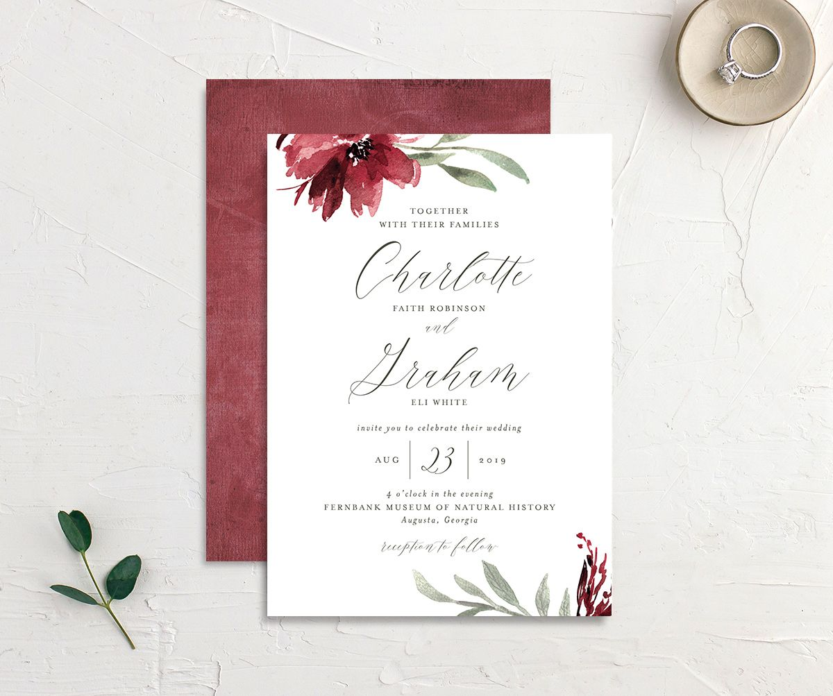 muted floral wedding invites in burgundy
