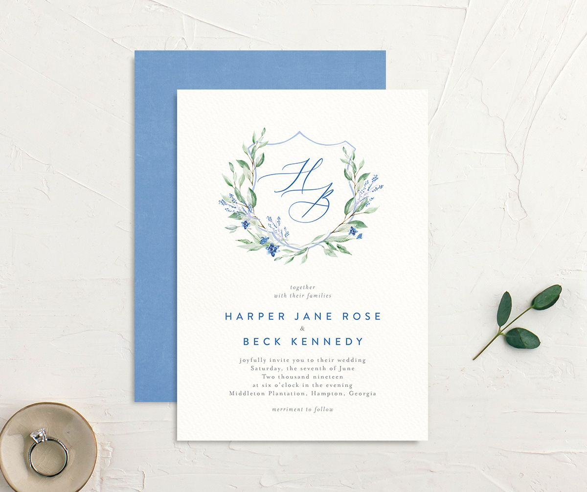 watercolor crest wedding invitations in blue