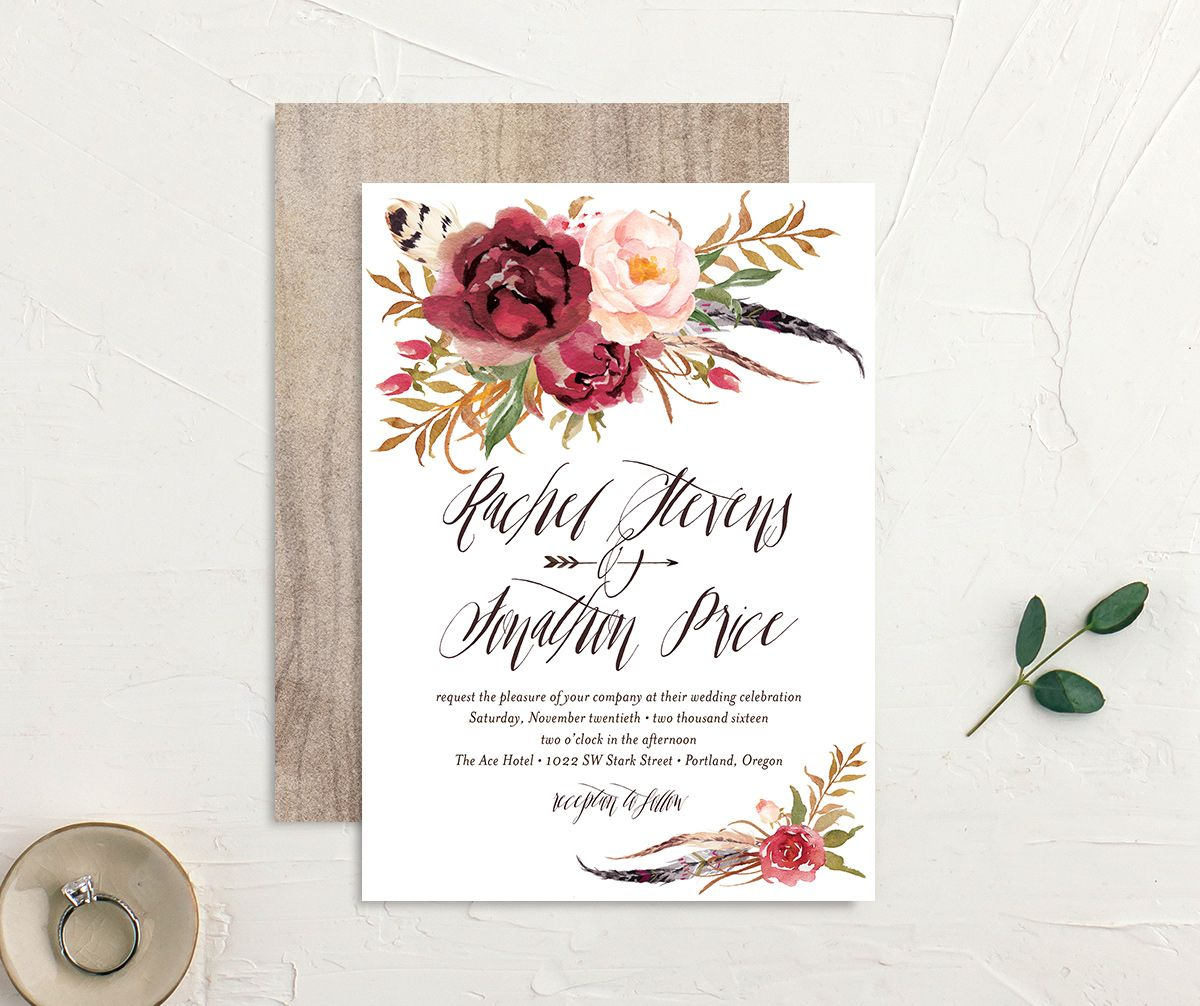 bohemian floral wedding invites in burgundy