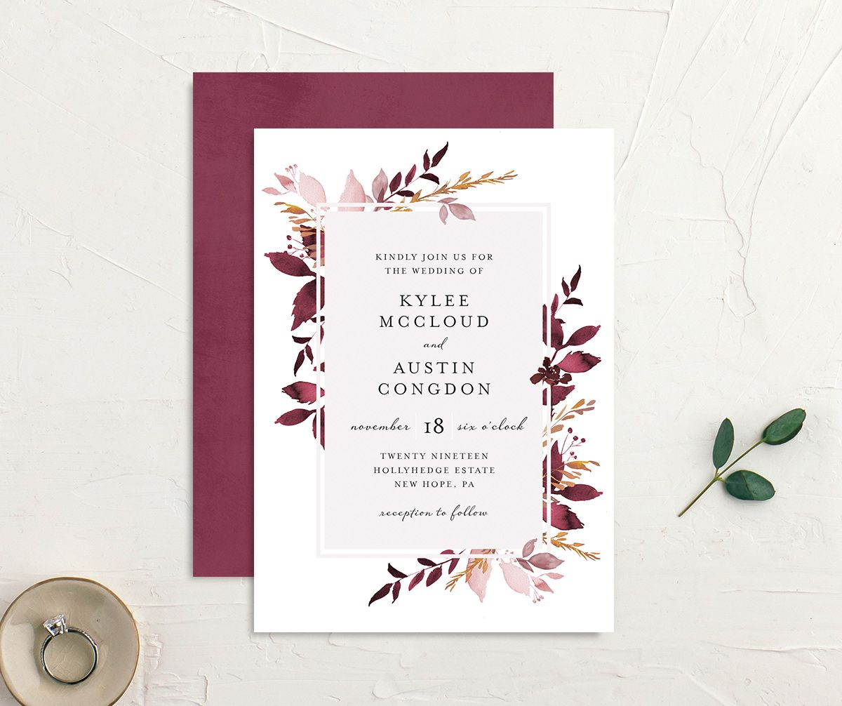 leafy frame wedding invites in burgundy