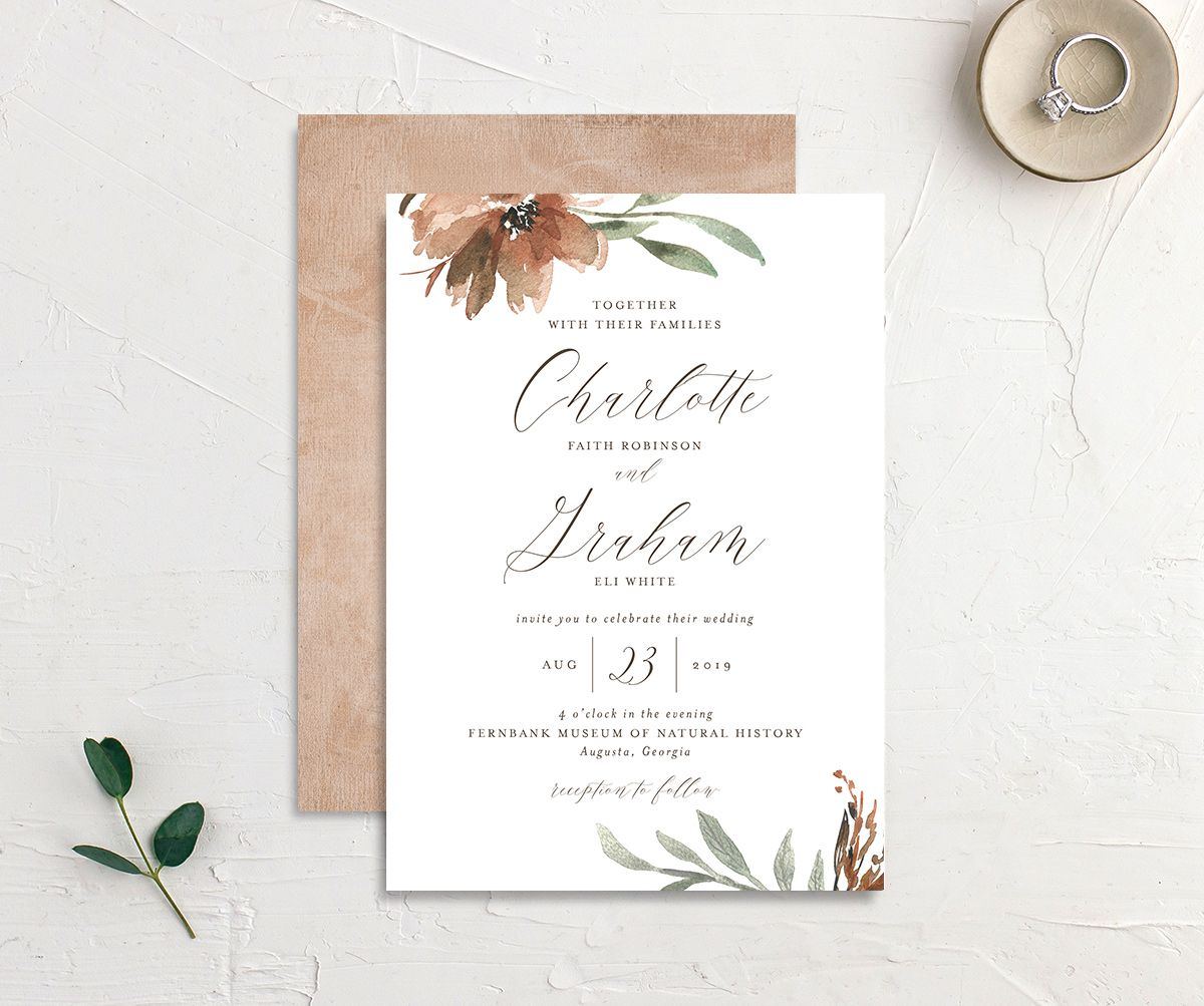 muted floral wedding invites in copper
