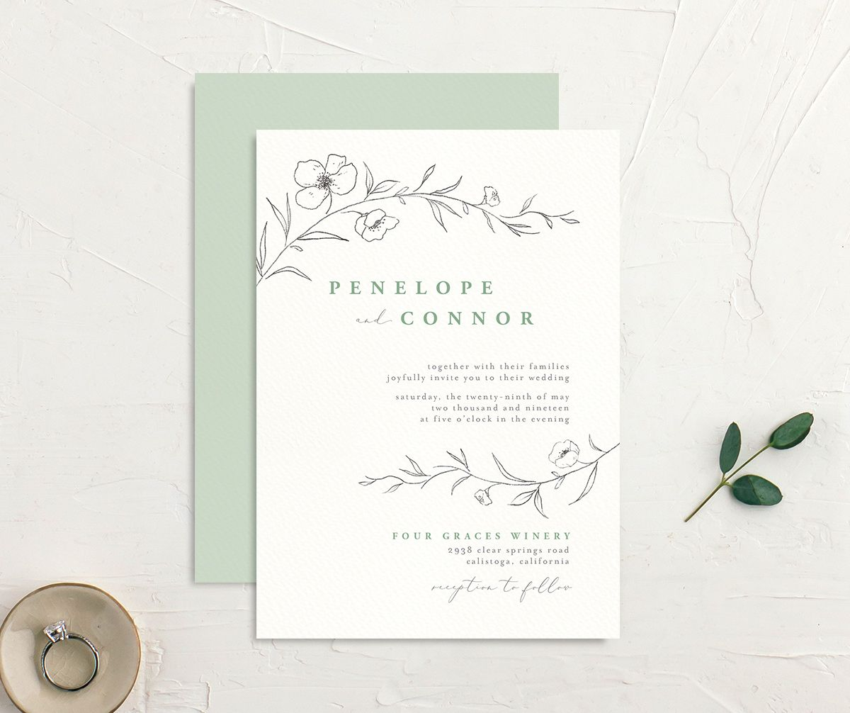 graceful botanical wedding invites in green