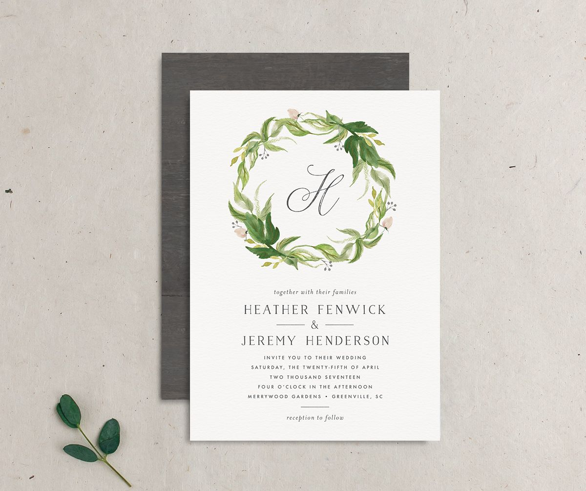 leafy wreath monogram wedding invite