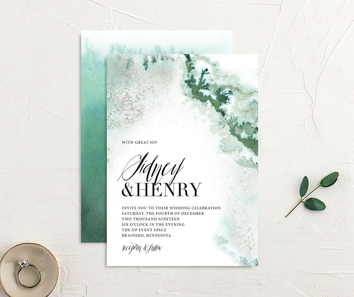 painted ethereal wedding invites