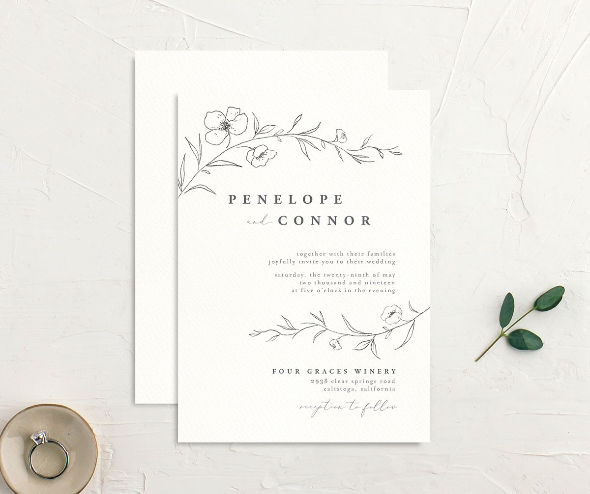 graceful botanical wedding invites in grey