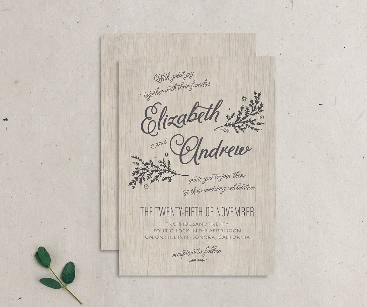 rustic chic wedding invites in grey