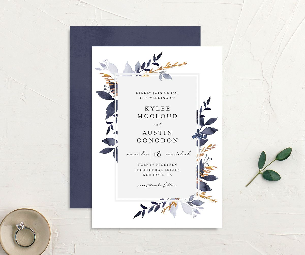 leafy frame wedding invites in navy